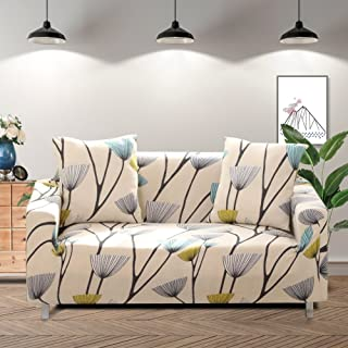 Lamberia Printed Sofa Cover Stretch Couch Cover Sofa Slipcovers for Couches and Loveseats with Two Free Pillow Case (Dandelion, Loveseat)