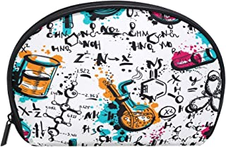 ALAZA Chemical Formula Half Moon Cosmetic Makeup Toiletry Bag Pouch Travel Handy Purse Organizer Bag for Women Girls