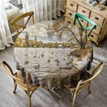 ScottDecor Dinning Tabletop Decoration Landscape Prague Charles Bridge and Old Town Czech Republic Riverside Scenic View with Swans Gold Grey Beach Round Tablecloth Diameter 36