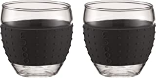 Bodum 12-Ounce Pavina Glasses with Silicone Grip, Black, Set of 2