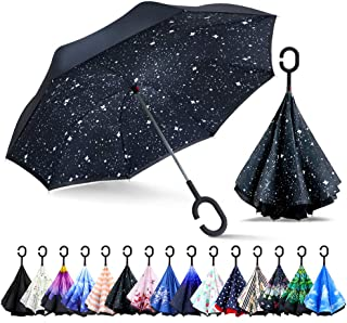 ZOMAKE Double Layer Inverted Cars Reverse Folding Umbrella UV Protection Windproof Large Big Straight Umbrella with C-Shaped Handle Night Sky