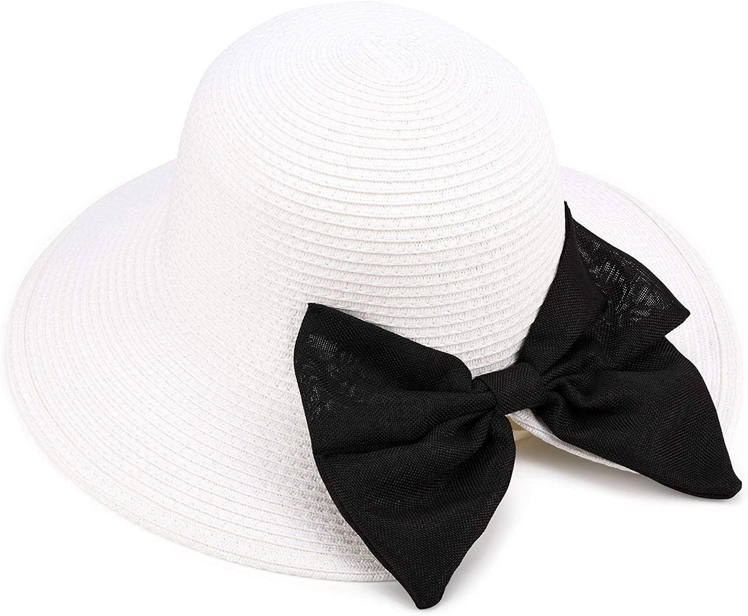 Sowift Women Sun Hats Floppy Summer Sun Beach Straw Hat UPF50 Foldable with Bowknot