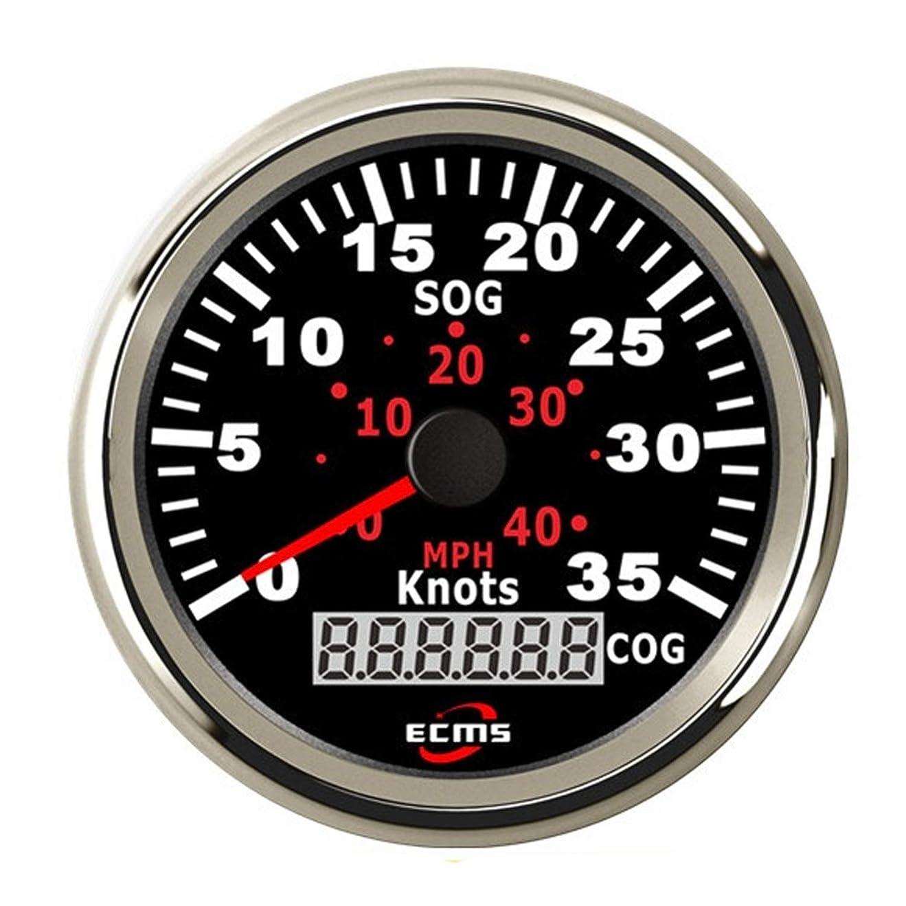 オン里親観察圧力計 GPSスピードメーター オドメーター 0-35ノット 0?40MPH ボートヨット船用 バックライト付き 3-3 / 8 ''(85mm) 12V / 24V センサー