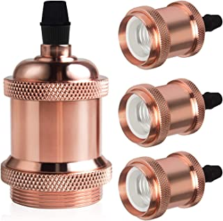 DiCUNO Vintage E26 Lamp Socket, Edison Retro Pendant Lamp Holder, Industrial and Decorative for DIY Lighting, 600℃ Heat Resistant 4 Packages (Color: Rose Gold)