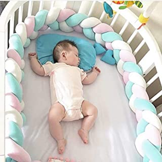 2m Baby Crib Bumper Hand Woven Soft Knot Pillow Baby Bedding White Blue