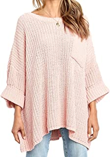 Women's Winter Long Knitted Sweater Dress Off Shoulder 3/4 Sleeves Oversized Loose Solid Color Pullover