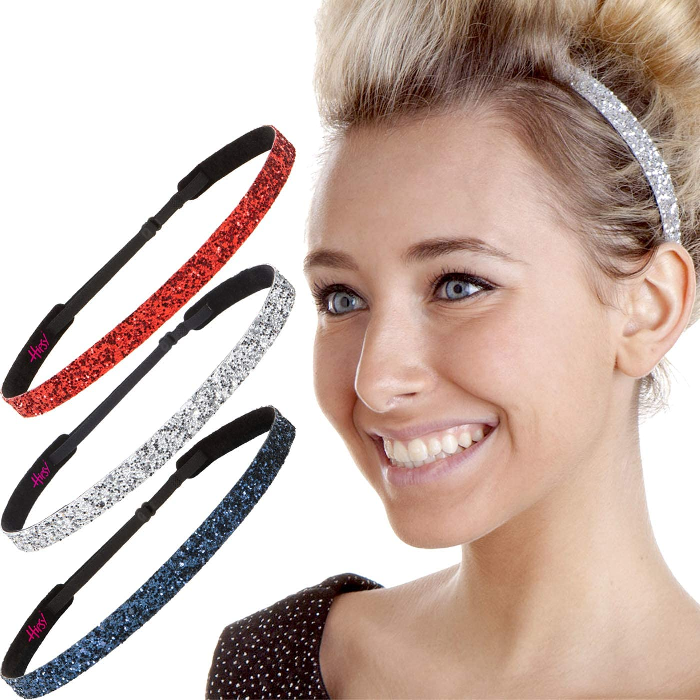 Hipsy Regular Size, Adjustable No Slip Sparkly Bling Glitter Skinny 3pk Headbands for Women Girls & Teens