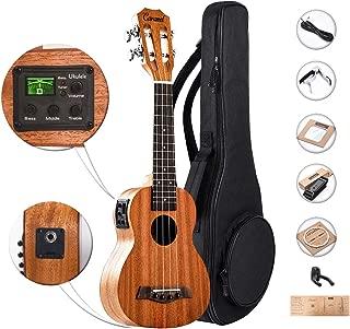 21 inch SolidMahoganyTopand Back-CaramelCS419SopranoLCD color display Electric Ukuleleukelele Kit Bundle Aquila Strings, Padded Gig Bag, Strap Hanger Set