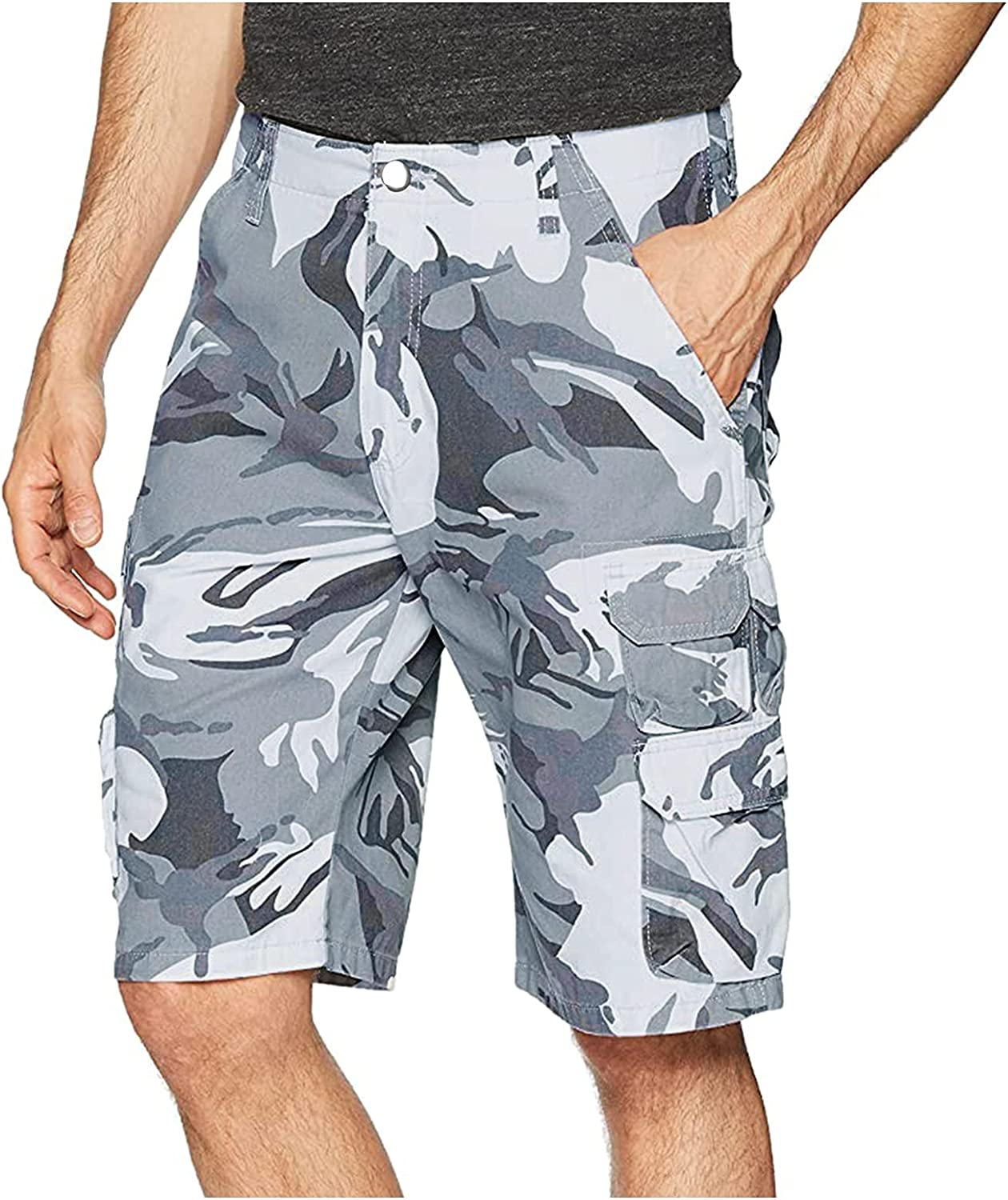 Men's Camouflage Casual Shorts Knee Length Multi-Pocket Cargo Shorts High Waist Tactical Shorts with Pockets - Limsea