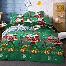 YC Christmas Duvet Cover Santa Claus Bedding Set Reindeer Bells Christmas Tree Pattern Bedroom Decor Microfiber Bed Covers...