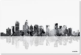 Charlotte NC Skyline BG-1 by Marlene Watson, 16x24-Inch Canvas Wall Art