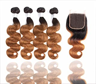 Sakula Ombre Body Wave Human Hair Bundles with Closure Brazilian 100% Unprocessed Grade 7A Virgin Remy Hair Extensions with 1B/30 Color (16 16 18 18+14 inch) …