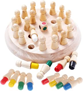 HOWADE Wooden Memory Matchstick Chess Game Block Board Educational Intelligent Games Logic Brainteaser Activity Toys for B...