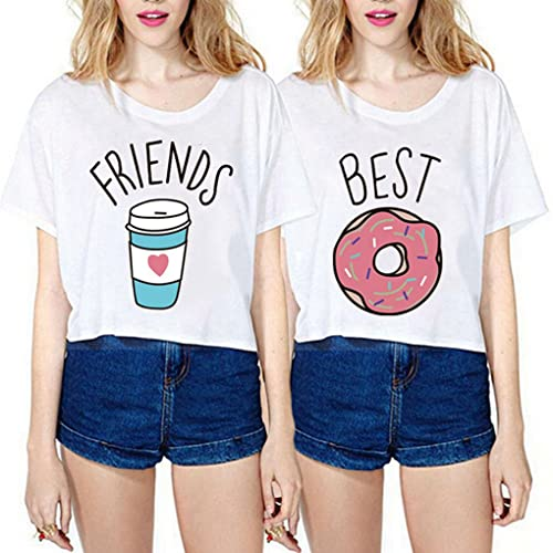 9df74ce8b0ecb JINT Best Friends Tshirt 2-Pack Women Donut and Coffee BFF Matching Cute  Shirt Cartoon
