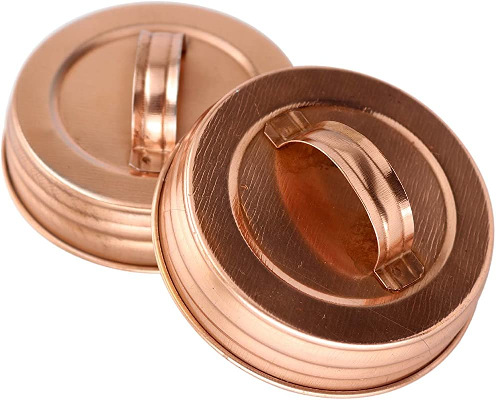 Shiny Copper Canister Handle Lid For Mason Jars 4 Pack Wide Mouth