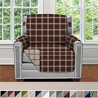 Sofa Shield Original Patent Pending Reversible Chair Slipcover, 2 Inch Strap Hook, Seat Width Up to 23 Inch Washable Furniture Protector, Slip Cover Throw for Pets Kids, Chair, Plaid Chocolate Beige