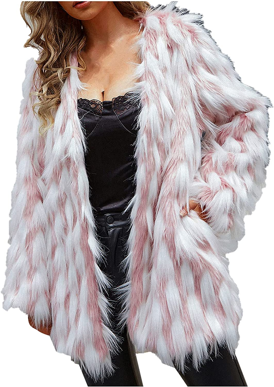 Womens Fall Open Front Cardigan Faux Furry Coat Vintage Parka Sh
