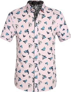SSLR Camisa con Estampado de Tiburones Manga Corta de Algodón de Verano para Hombre
