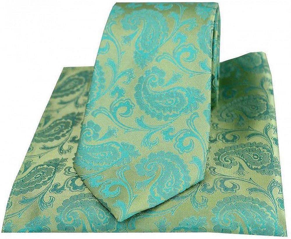 David Van Hagen Mens Paisley Woven Tie and Pocket Square Set - Jade Green
