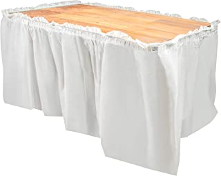 Disposable Table Skirts – 6-Pack Ruffled Plastic Table Skirts – Perfect for Weddings, Engagement Parties, Birthdays, Business Events, Baby Showers, White, Suitable for Tables Up To 8 Feet Long
