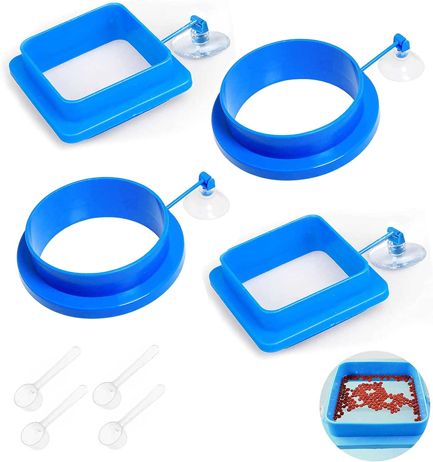 Lucky Interests 4PCS Fish Feeding Ring, Square and Round Thickening Floating Food Feeder, with Suction Cup to Install Aquarium, Blue Fish Food Feeder Circle for Guppy, Goldfish Include 4 Spoons
