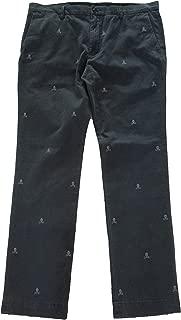 Polo RL Men's Embroidered Skulls Slim Fit Pants-Black Charcoal