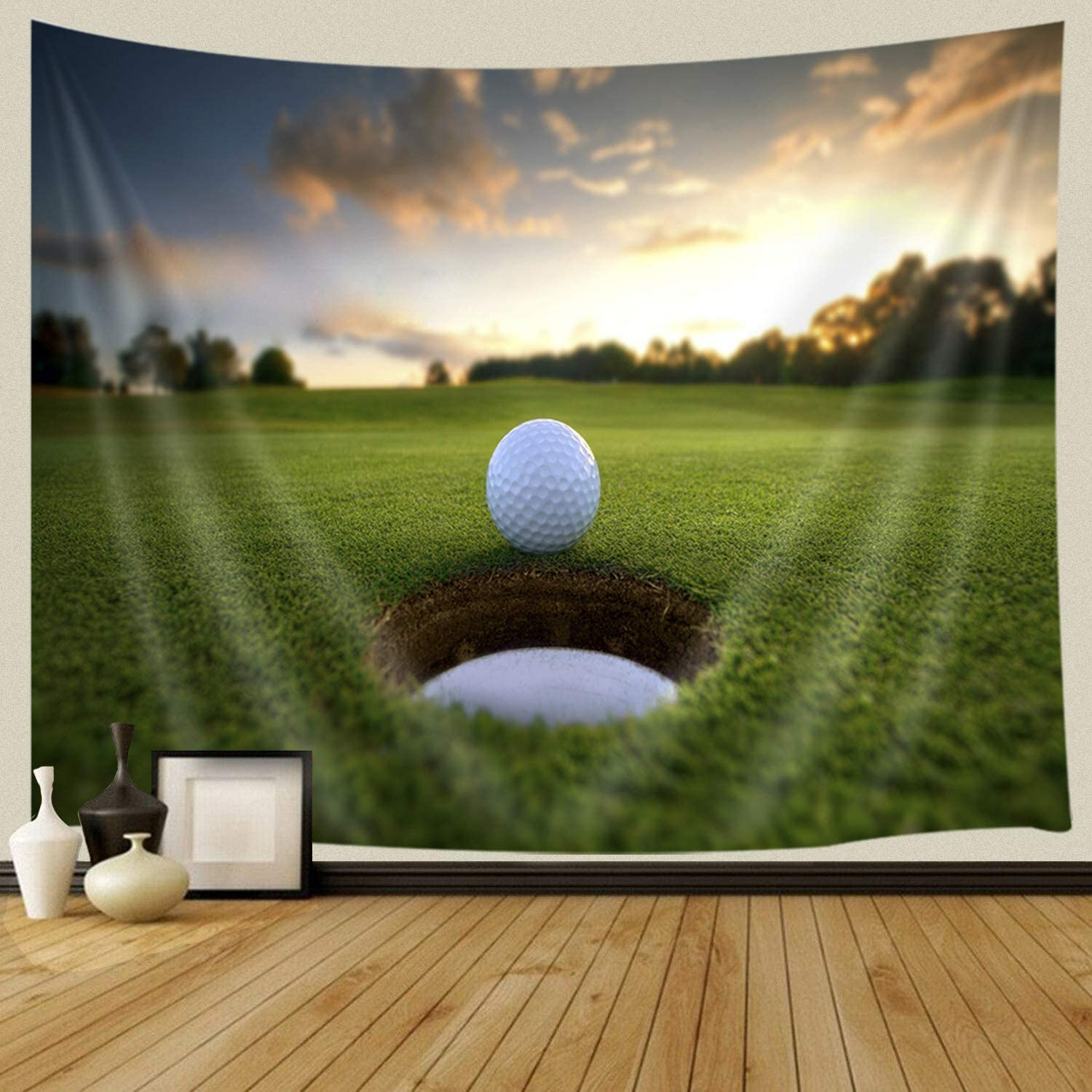 JAWO Golf Course Decor Tapestry for Men, Golf Ball Parked at Hole Farm  House Sunset Tapestries Wall Hanging for Dorm Living Room Bedroom, Wall  Blanket ...