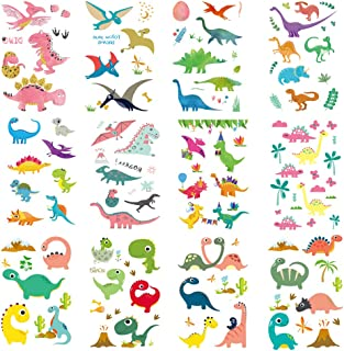 108 Pcs Dinosaur Temporary Tattoos for Kids Waterproof 12 Sheets Tattoo Stickers for Boys and Girls Cartoon Dinosaur Theme Birthday Party Children Party Favors
