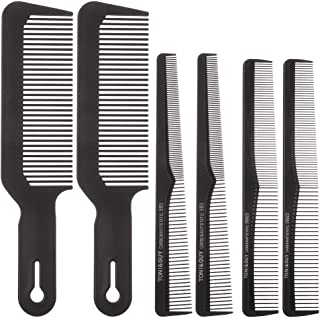 BKpearl 6 Pack Barber Combs Clipper Comb Flat Top Taper Combs Hair Cutting Combs Styling Comb Anti Static Hairdressing Comb for Men and Women