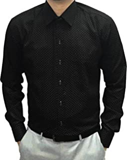 Sunshiny Men's Black Polka Dotted Slimfit Shirts Full Sleeves