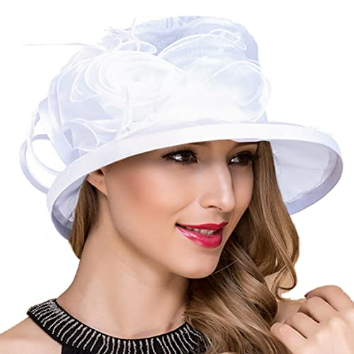 559ca3306a45d Lady Church Derby Dress Cloche Hat Fascinator Floral Tea Party Wedding  Bucket Hat S051