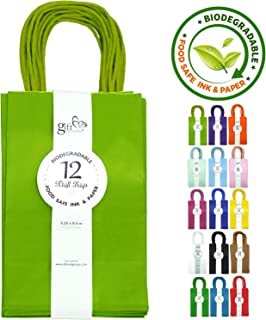 12CT Small Lime Green Biodegradable, Food Safe Ink & Paper, Premium Quality Paper (Sturdy & Thicker), Kraft Bag with Colored Sturdy Handle