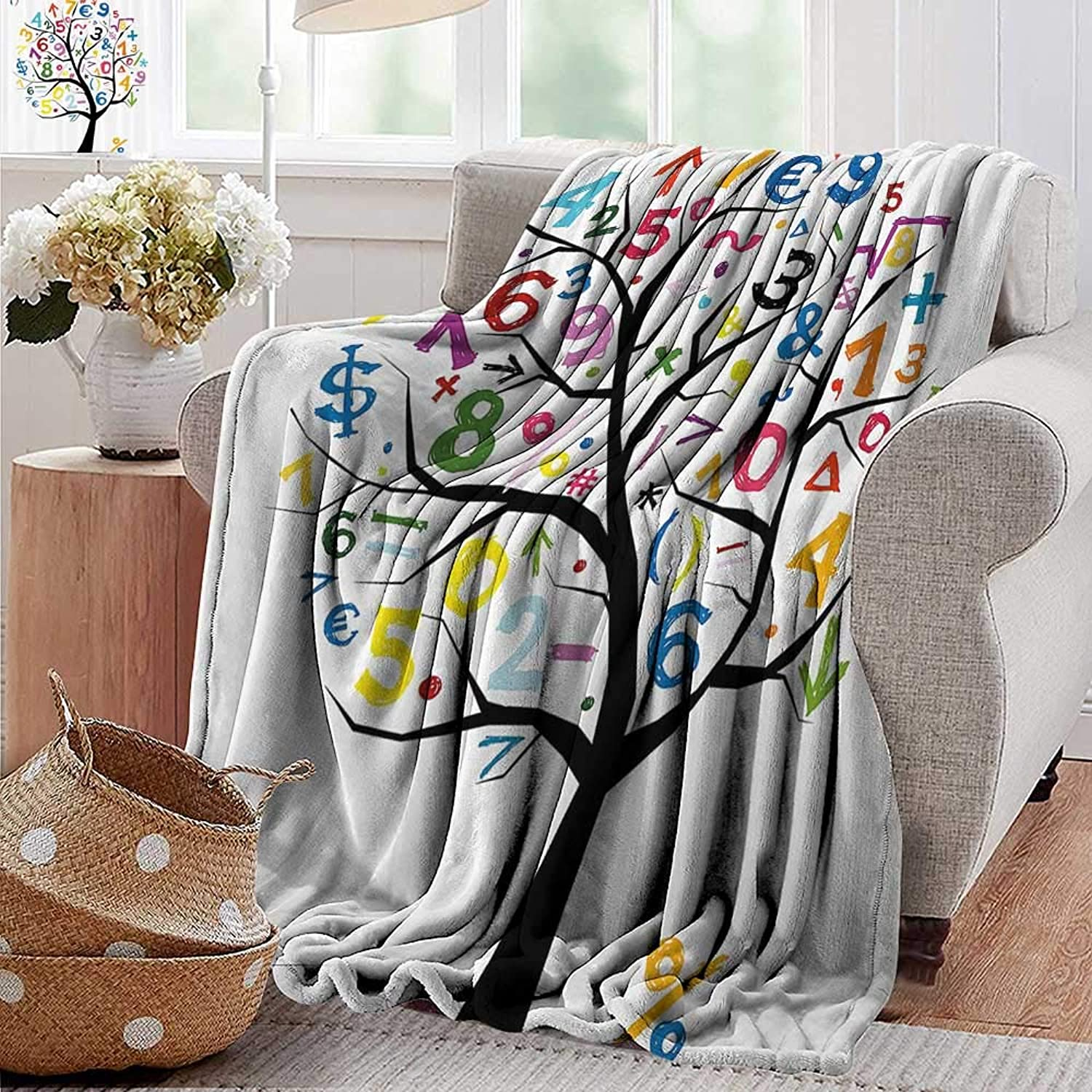 PearlRolan Velvet Touch Ultra Plush,Mathematics Classroom Decor,Art Tree with colorful Numbers Math Symbols Fun Kids Drawing,Multicolor,300GSM,Super Soft and Warm,Durable Throw Blanket 35 x60