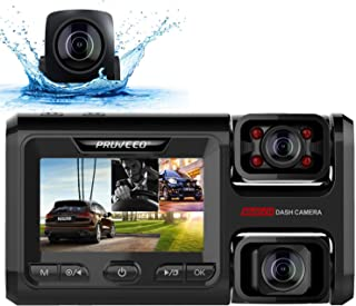 Pruveeo D40 Three and Dual Channel Dash Cam, Front Inside and Rear with Backup Camera, Dash Camera for Cars, 3.0 inch LCD,...
