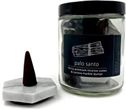 Hemlock Park Palo Santo Incense Cones with Carrara Marble Burner | 30 Cone Jar Made with Essential Oils