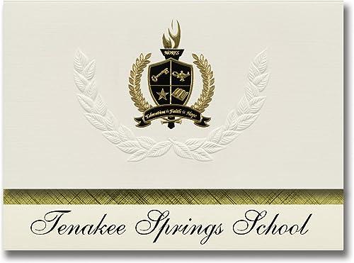 Signatur-Ankündigungen Tenakee Springs School (Tenakee Springs, AK) Abschlussankündigungen, Pr dential-Stil, Gründpaket mit 25 Goldfarbenen und Schwarzn metallischen Folienversiegelungen