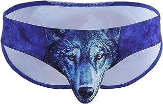 ranrann Men's Low Rise 3D Wolf/Leopard Printing Bulge Pouch Bikini Briefs Underwear Swim Trunks