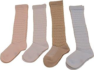 Brissa España, Pack de 2 Calcetines Bebe Color Liso. Calcetines Bebe Largos Calados. Calcetines para Bebe Niña Niño de 0-9, 9-18 y 18-36 meses.