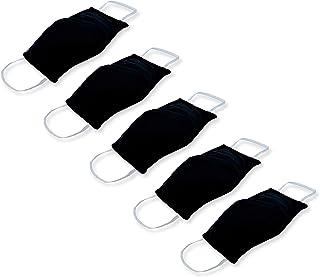 KUNSTIFY Elastische stofmaskers, 5 stuks, verstelbaar, met elastische banden, zwart, wasbaar