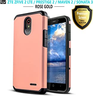 Star Shock Absorption Cases Compatible for ZTE Maven 3/ZTE Overture 3/ZTE Zfive 2/ZTE Prestige 2/ZTE Maven 2/ZTE Sonata 3 Phone [Premium Screen Protector Included] Protective Cover-Rose Gold