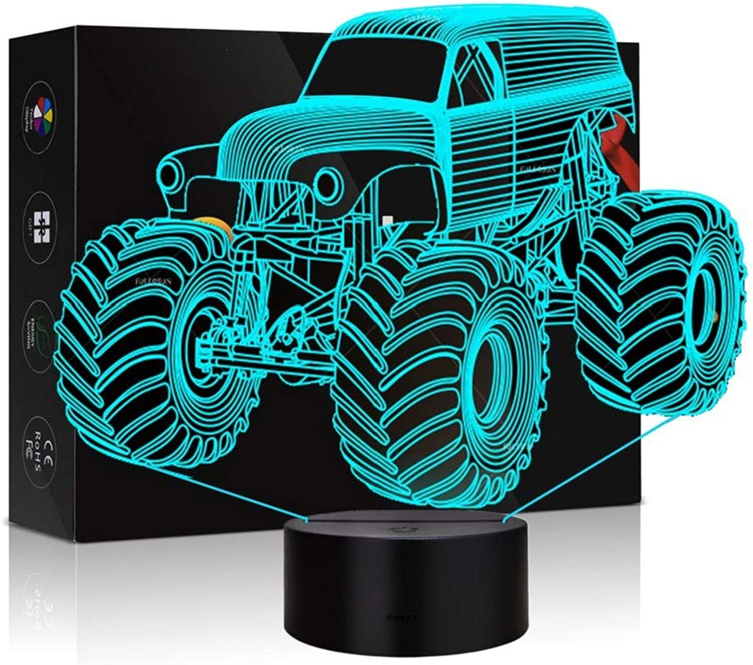 Abstractive 3D Optical Illusion Monster Truck colorful Lighting Effect Touch Switch USB Powered LED Decoration Night Light Desk Lamp (Monster Truck)