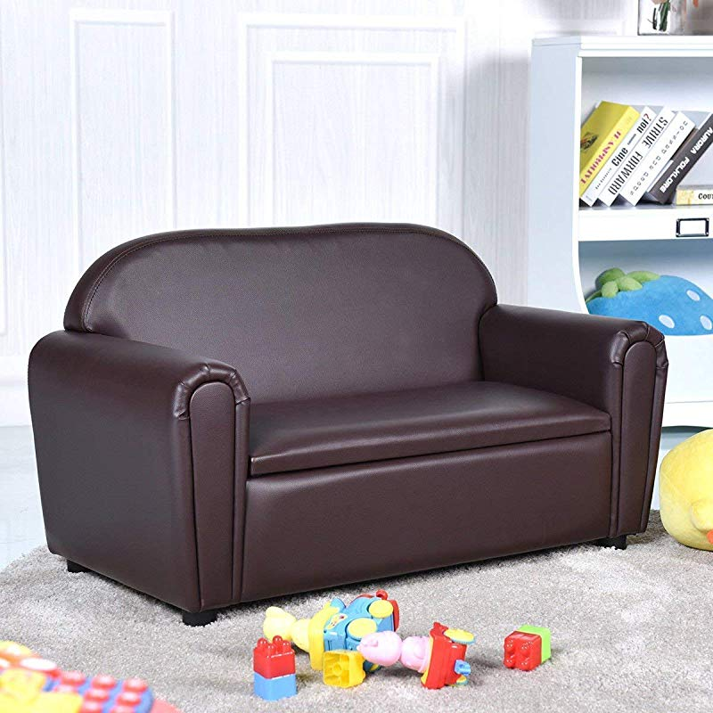 Costzon Kids Sofa Upholstered Couch Sturdy Wood Construction Armrest Chair For Preschool Children Couch With Storage Box Double Seat