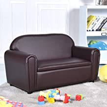Costzon Kids Sofa, Upholstered Couch, Sturdy Wood Construction, Armrest Chair for Preschool Children, Couch with Storage Box (Double Seat)