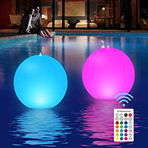 Splonary Solar Floating Pool Lights Inflatable, Floating Pool Lights LED Hangable IP68 Waterproof Color Changing Led Glow Globe Pool Ball Light for Garden, Pond, Backyard, Party Decor (2PCS)