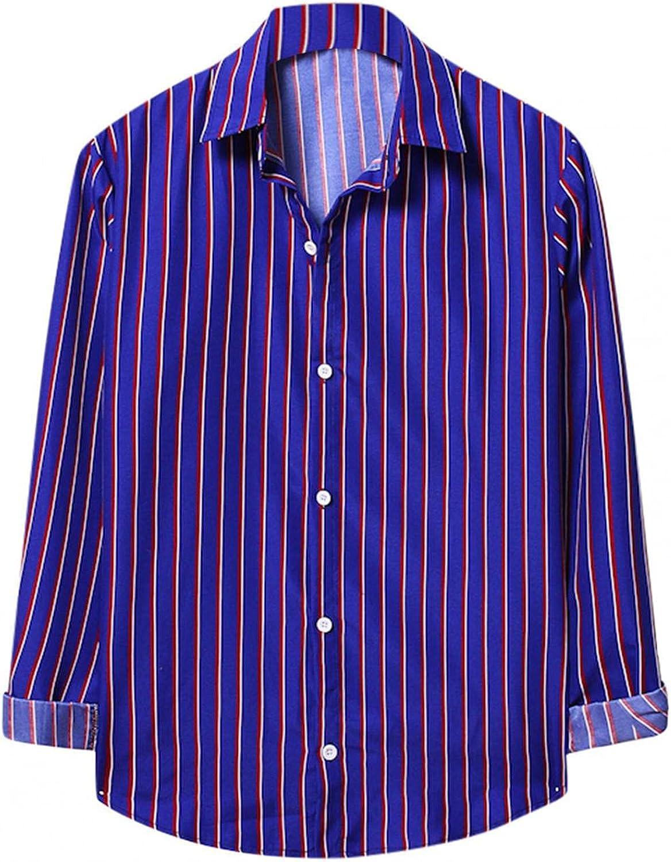 Huangse Men's Classic Fit Non-Iron Alternating Striped Dress Shirt Slim Long Sleeve Button Down Shirt