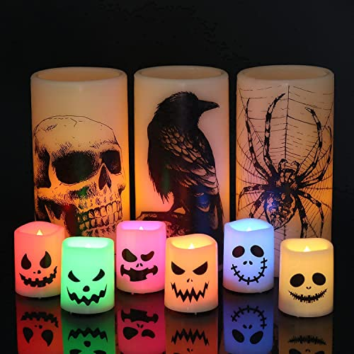 lowest Halloween 3 Pack Flameless Flickering Candles with Skull, Spider Web, Crow Raven 6 Pack wholesale Battery Operated Led Votive Candles Horror Spooky Home online Decoration sale
