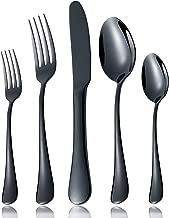 OMGard Silverware Set for 4, Modern Black Flatware 18/10 Stainless Steel Eating Utensils, 20-Piece Tableware Service for 4 Dinner Knives, Forks, Spoons, Unique Cutlery Mirror Finished Dishwasher Safe