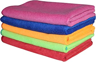 POPIO Microfiber Car Cleaning Cloth 40 * 40cm 340gsm (Set of 5, Multicolour)
