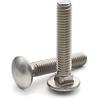 3//4-10 Thread Size Small Parts FSC343CBSS Round Square-Neck Carriage Bolt 18-8 Stainless Steel 3 Long Hex