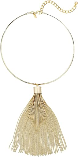 Kenneth Jay Lane - Polished Gold Choker with Snake Chain Tassel